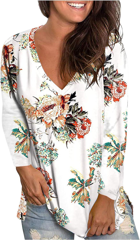 Pandaie Womens Sale SALE% OFF Summer Flower Print Long Sleeve Tie Dye 4 years warranty V Tops Ne
