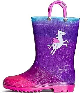 SHOFORT Kids Boys Girls Rain Boots with Easy-on Handles Rainboots (Toddler/Little Kid/Big Kid)