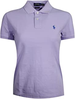 Ralph Lauren Polo Women's Classic Fit Mesh Polo Shirt (Small, Light Purple (Blue Pony))