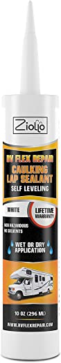 Ziollo RV Flex Repair Caulking Lap Sealant - Self Leveling EPDM Sealant for Rubber Roofs on Motorhomes, Trailers, Campers (White, 1-10 oz Tube of RV Caulk)