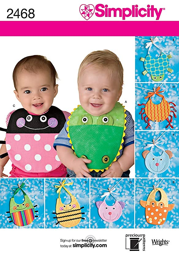 Simplicity Colorful Baby Bib Sewing Patterns, One Size Fits All