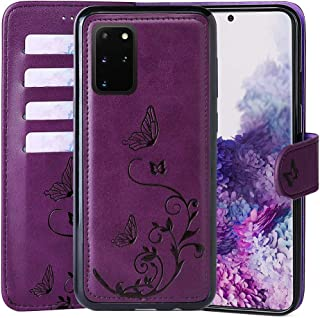 WaterFox Samsung Galaxy S20+ Plus Wallet Leather Case with 2 in 1 Detachable Cover, Women Flip Folio with 4 Card Slots & Wrist Strap Cases Purple