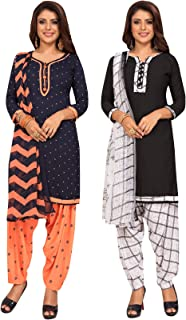 S Salwar Studio Women's Pack of 2 Synthetic Printed Unstitched Dress Material Combo-MONSOON-2868-2875