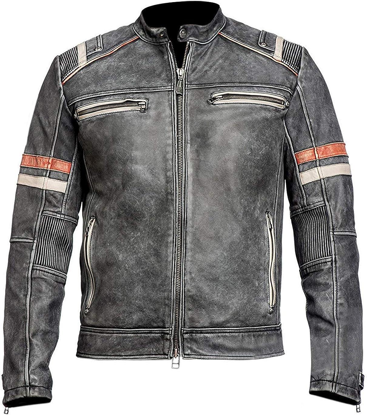 Men's Retro Biker Vintage Cafe Racer Motorcycle Distressed Black Leather Jacket