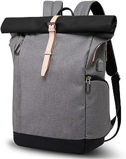 Laptop Rucksack Damen Herren, Roll Top Rucksack mit USB fur 15.6 Zoll Notebook, Anti-Theft Tasche Daypack Mode Rucksack Fr...
