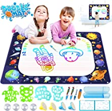 Growsland Water Drawing Mat Kids Toys Aqua Magic Doodle Mat Mess Free Coloring Educational Xmas Gift Toddlers Toy for 2,3,4,5,6 Year Old Girls Boys Space Theme Writing Painting 39.4
