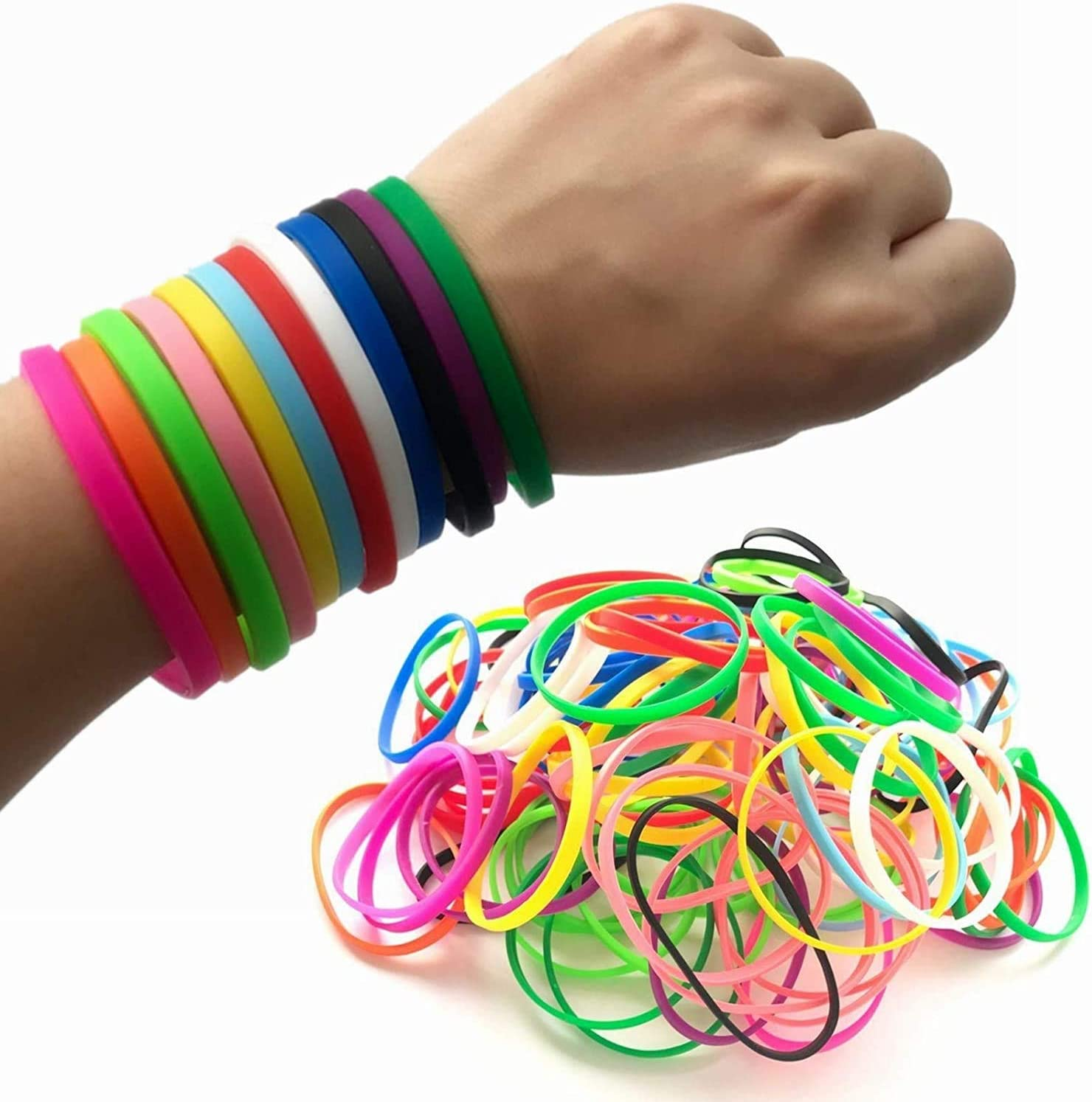 Limited time sale M.best 120 Pieces Rubber Bracelets Silicone S Neon Elastic Jelly Japan Maker New