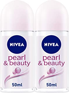 NIVEA Pearl & Beauty Antiperspirant Roll On for Women, 2 x 50 ml