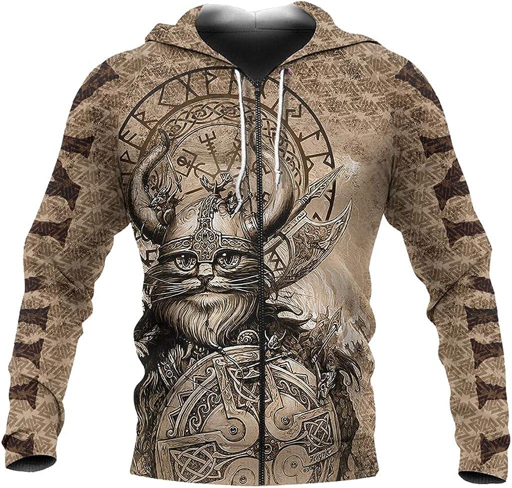 Men's Viking Cat Hoodie 3D Print Casual Loose Pullover Sweater Fall Long Sleeve Big Pocket Zipper Sweatshirt Norse Gift