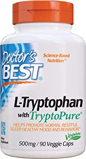 Doctor's Best L-Tryptophan from Tryptopure, Helps Sleep, Healthy Mood & Behavior, Non-GMO, Vegan, Gluten Free, Soy Free, V...