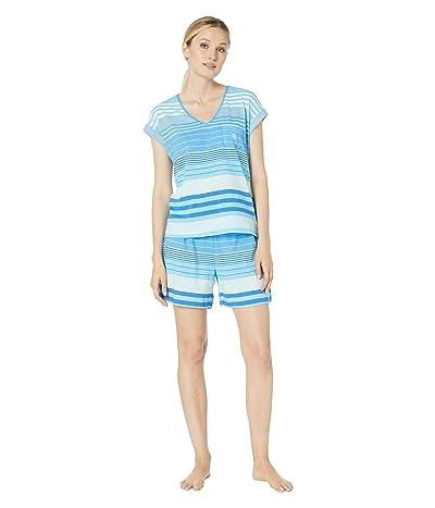 LAUREN Ralph Lauren Short Sleeve Dolman Sleeve V-Neck Boxer Pajama Set (Blue Stripe) Women