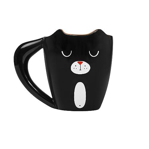 thumbs Up! - Cat Mug - Tasse Céramique en forme d'une chatte - queue est la poignée - noir - 275ml - 1001478