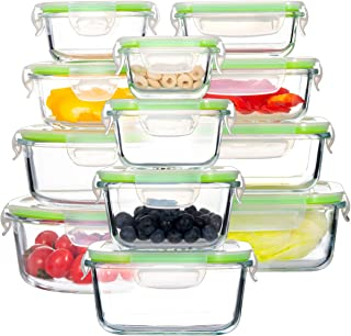 Glass Food Storage Containers with Lids, [24 Piece] Airtight Glass Storage Containers, 100% Leak Proof Glass Meal Prep Con...