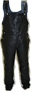 Black Custom Leather Mens Bib Overalls