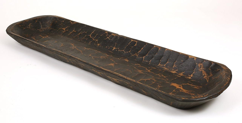 Rustic Wooden Dough Bowl-Batea-Extra Long-Black rdgitf267