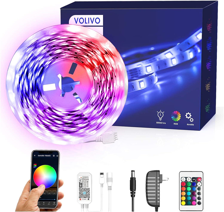 Volivo Smart shop WiFi Led Strip Lights of 16.4ft RGB 1 Roll Fresno Mall