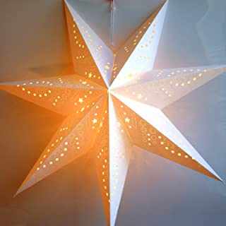 Paper Star Lantern Decoration (Frosted White 7-Point Glitter Star) - Perfect for Winter Weddings, Christmas Holiday Birthday Party Celebration & Home Decor