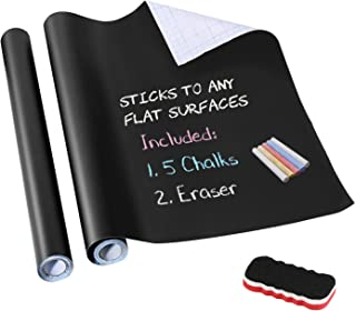 Chalkboard Contact Paper,LeeLoon Chalk Paper Wall Decals Stickers Self-Adhesive Eraseble Cuttable Removable Blackboard Wallpaper for School Office,Home,Kid,Art,Restaurant Menu,Decoration 17.7