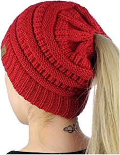 ADI Women's Warm Cable Knitted Messy High Bun Hat Beanie with Hole for Pony Tail Skull Cap