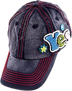 Crazy4Bling Washed Denim Baseball Cap Hat w/Fuzzy YES Accent & Thick Red Stitching