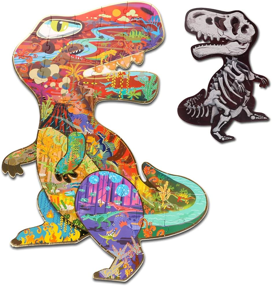 Kids Puzzles for Ages 4-10 HAS Mesa Mall Flo Double-Sided Dinosaur 48 New item PCS