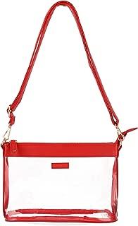 Large Clear PVC Plastic Purse Crossbody Zipper Bag for Women, Adjustable Shoulder Strap, Stadium Approved