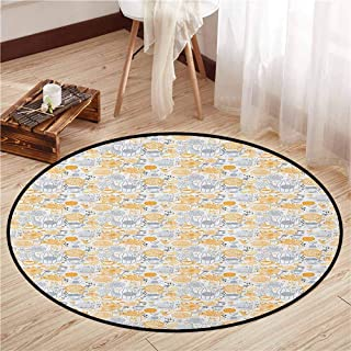 Skid-Resistant Rugs,Tea Party,Abstract English Tea Party Sketch Floral Backdrop Cups and Pots,Ideal Gift for Children,4'11