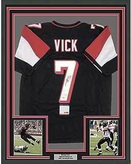 Framed Autographed/Signed Michael Mike Vick 33x42 Atlanta Black Football Jersey PSA/DNA COA