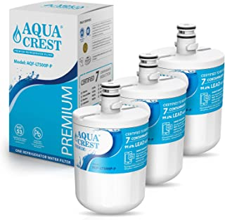 AQUACREST 5231JA2002A Refrigerator Water Filter, NSF 53&42 Certified to Reduce 99% of Lead and More, Compatible with LG LT500P, 5231JA2002A, ADQ72910901, Kenmore 9890, 46-9890 (Pack of 3)
