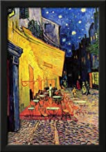 Professionally Framed Vincent Van Gogh Cafe Terrace at Night Art Poster Print - 13x19 with RichAndFramous Black Wood Frame