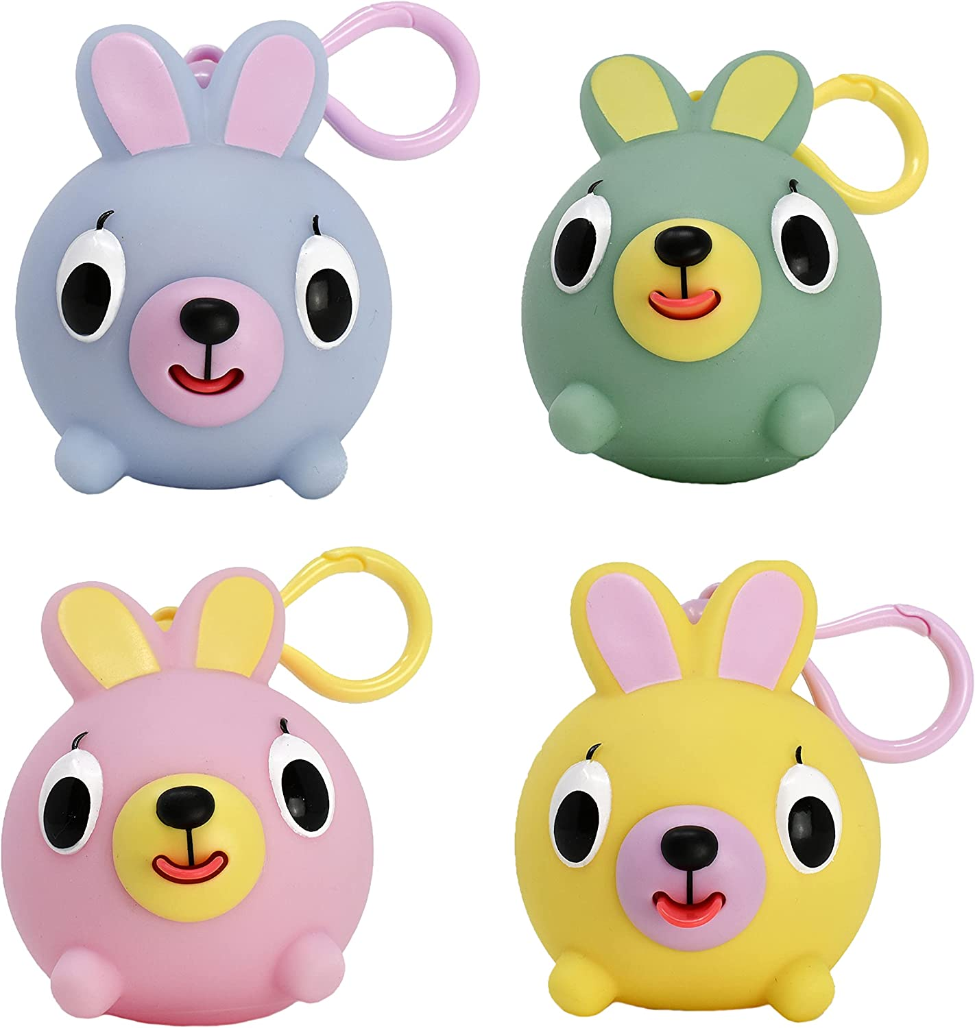 Jabber Ball Junior Bunny Clip for Backpacks, Strollers, Purses, and Diaper Bags - 4 Bunny Set (One Pink, One Yellow, One Blue, One Green)