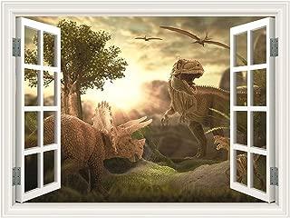 SUMGAR Jurassic Dinosaur Window View Wall Mural 3D Wallpaper Self Stick Decals Home Decor for Kids Room Windowless,48x36 inch