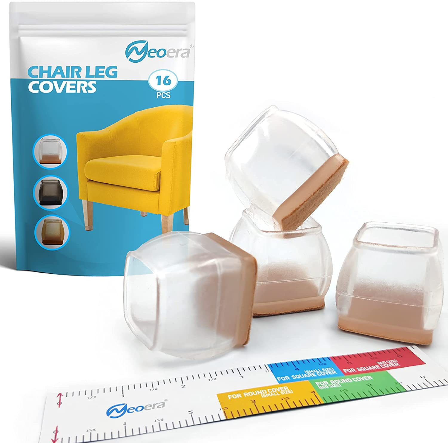 Neoera Chair Leg Covers to Protect Floors (Square Large Clear 16 Pcs) with Felt Transparency Silicone Furniture Feet Protector Pads, Stool Leg caps to Prevent Hardwood Floor Scratches and Reduce Noise