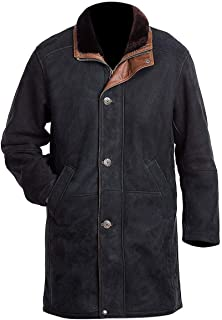 Natural Distressed Genuine Suede Leather Pea Coat for Men - Black Suede Jacket