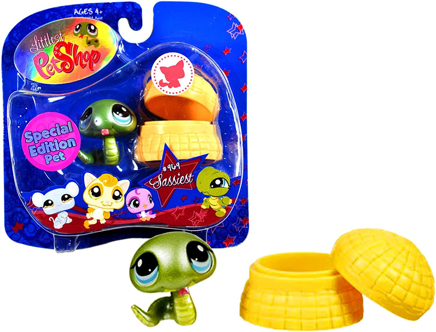 Hasbro Year 2008 Littlest Pet Shop Portable Pets Special Edition Pet  Sassiest Series Collectible Bobble Head Pet Figure Set  969  Green Snake with Basket (91839) by Littlest Pet Shop