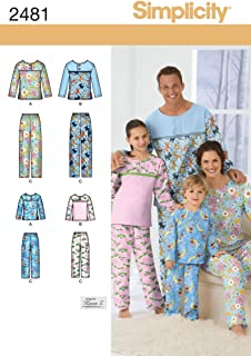 Simplicity Child, Teen, and Adult Pajama Tops and Pants Sewing Pattern, Sizes XS-XL