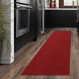 "Ottomanson OTH8400-20X59 Ottohome Collection Solid Design Runner, 20"" x 59"", Red"