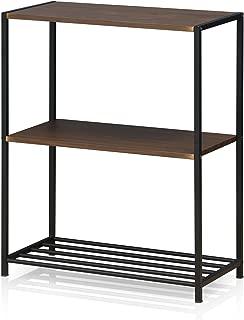 Furinno FM6075R-3DW Modern Lifestyle 3-Tier Storage Shelves, Dark Walnut
