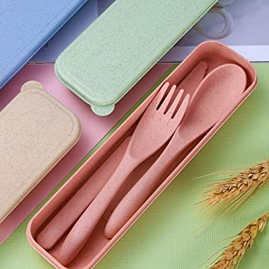 Travel Utensil Set with Case, 4 Sets Wheat Straw Reusable Spoon Knife Forks Tableware, Eco Friendly Non-toxin BPA Free Portab
