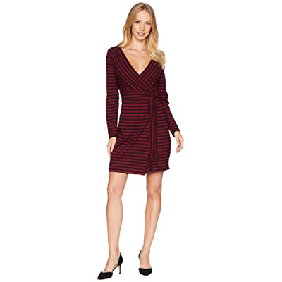 BB Dakota All Day Everyday Striped Wrap Dress (Maroon) Women
