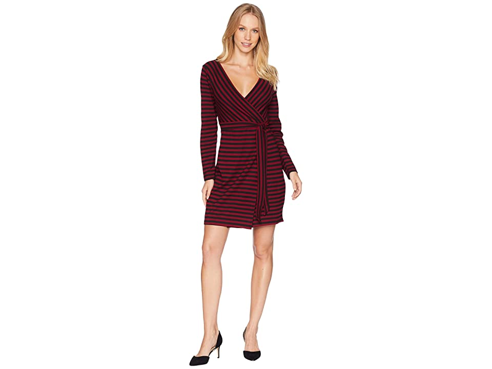 BB Dakota All Day Everyday Striped Wrap Dress (Maroon) Women