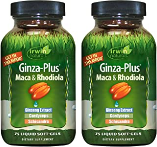Irwin Naturals Ginza-Plus Maca & Rhodiola for Mental Balance and Stress Relief, 75 Liquid Softgels (Pack of 2)