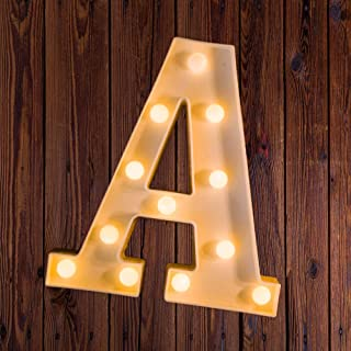 LED Marquee Number Lights Sign Light Up Marquee Letter Lights Sign for Night Light Wedding Birthday Party Battery Powered Christmas Lamp Home Bar Decoration A