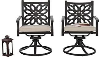 PHI VILLA Cast Aluminum Extra Wide Rocker Swivel Chairs Outdoor Patio Bistro Dining Chair with Cushion Set of 2 - Frosted Surface