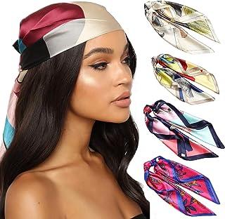 HAIMEIKANG Silk Square Scarves for Women - 4 PCs Women Satin Silk Head Scarf Scarves Set Bandanas Hair Scarf Neck Scarf