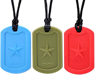 Chewelry Sensory Chew Necklace for Boys & Girls - Chewlery Necklaces for Kids with Autism ADHD - Chewy Oral Chewing Toys - Dog Tag 3-Pack by Solace