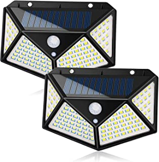 Chulovs Solar Light Outdoor 100 LED Waterproof Security Wall Night Light with Motion Sensor 270° Wide Angle for Pathway Po...