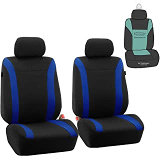 FH Group FB054102 Cosmopolitan Flat Cloth Pair Set Car Seat Covers, Airbag Compatible, Blue/Black Color w. Gift -Fit Most Car, Truck, SUV, or Van