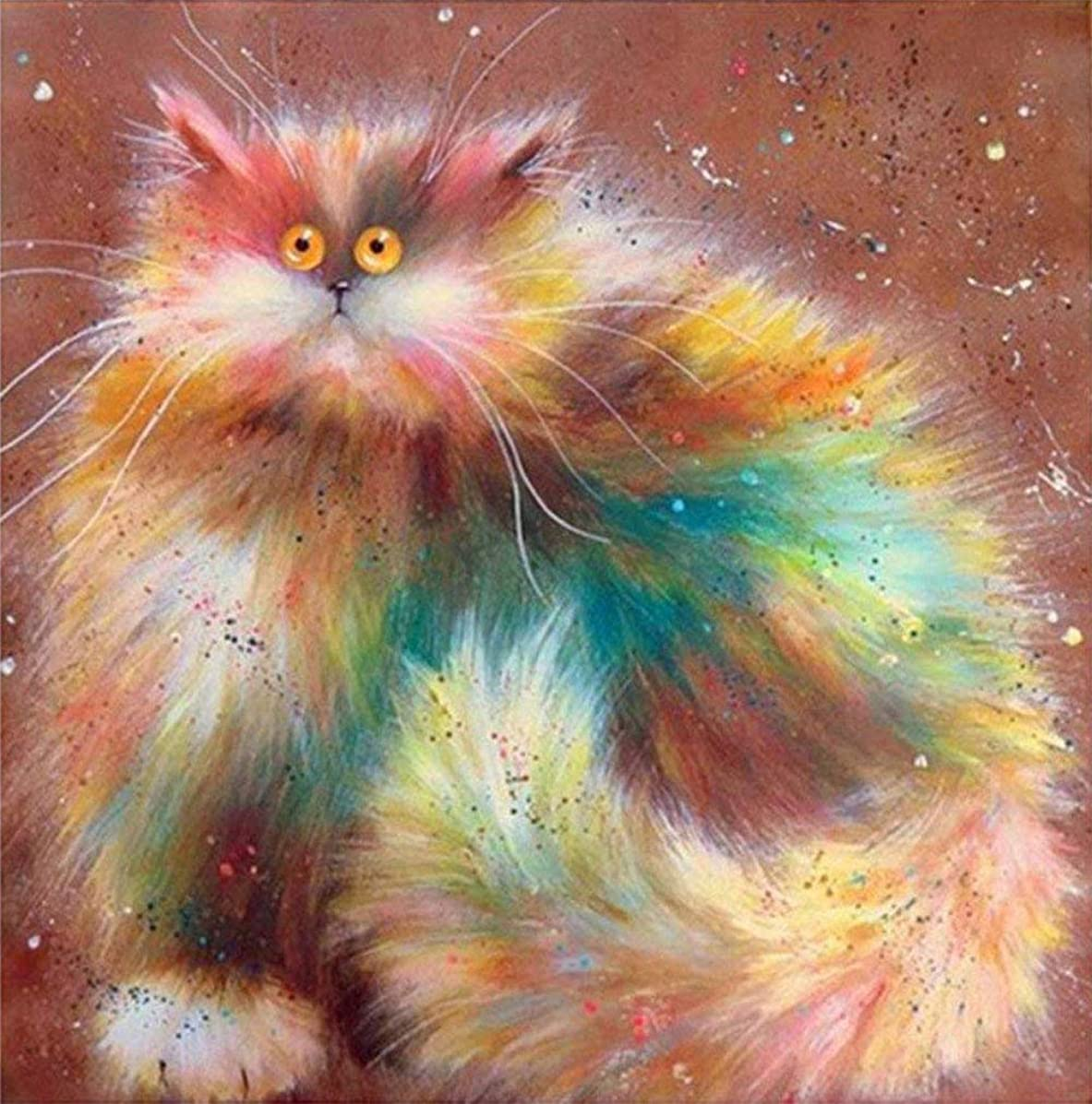 Twelve Dollar Shop DIY 5D Diamond Painting by Number Kits, Crystal Rhinestone Diamond Embroidery Paintings Pictures Arts Craft for Home Wall Decor, Full Drill,Pussycat