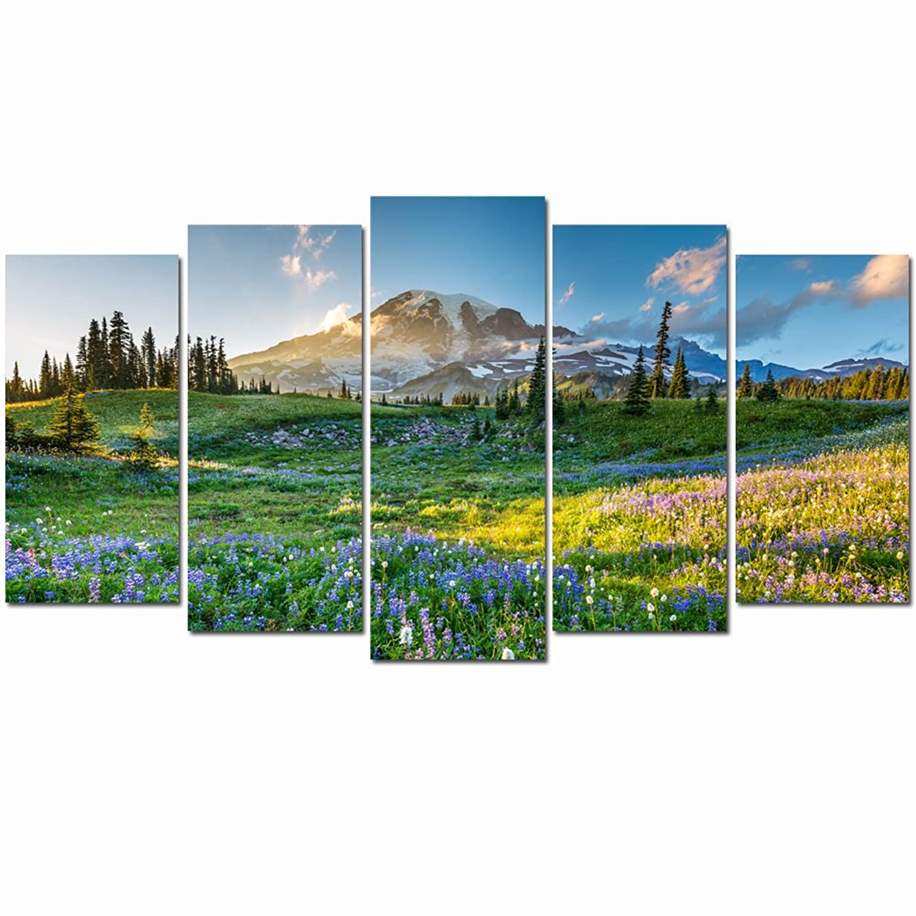 LevvArts - 5 Piece Canvas Prints Wall Art National Park Poster Mount Rainier at Sunrise Landscape Painting Giclee Print Framed Ready to Hang Modern Bedroom Home Decor